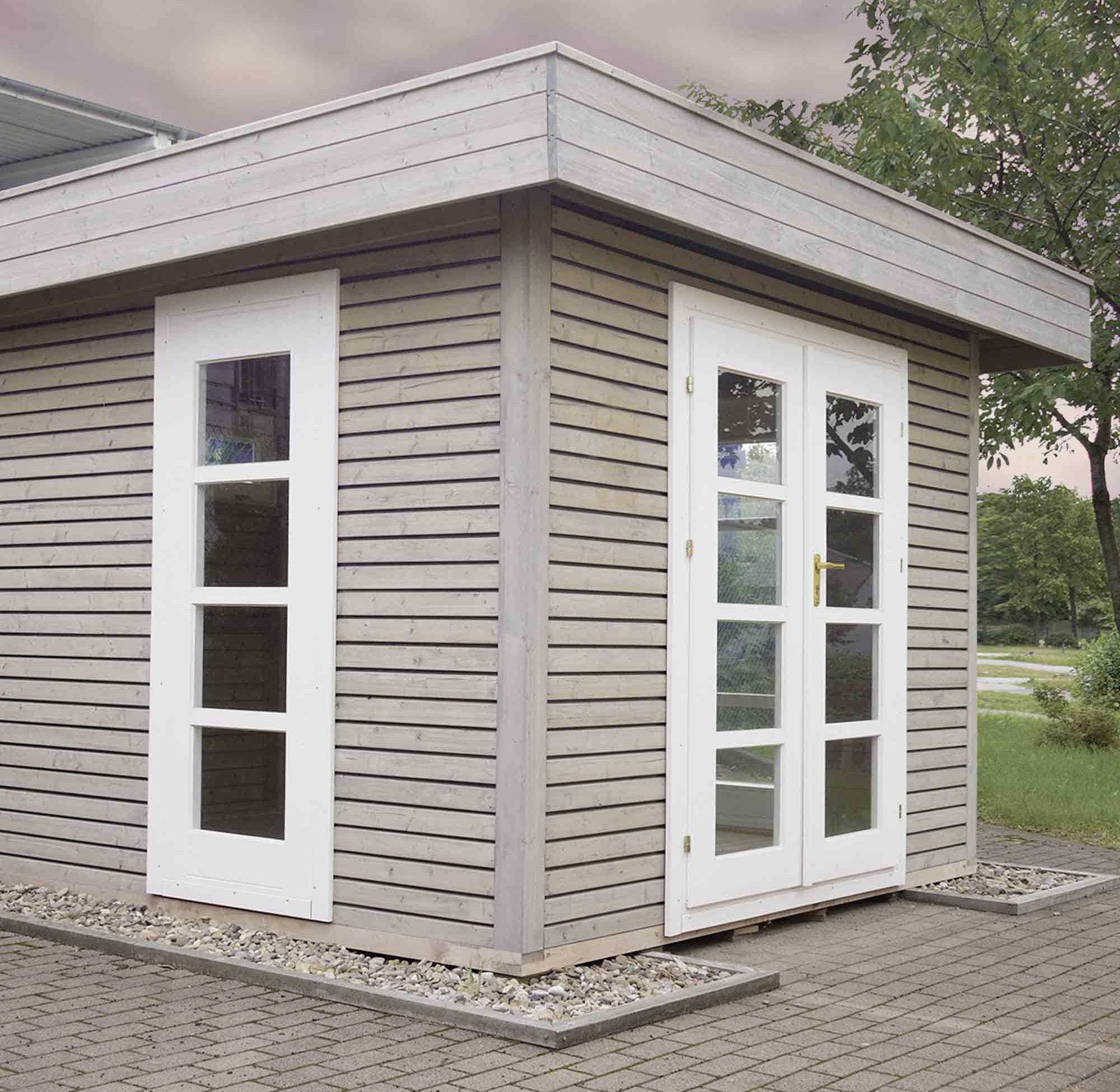 Gartenhäuser aus Holz mit weißen Fenster- und Türrahmen – HolzLand Verbeek
