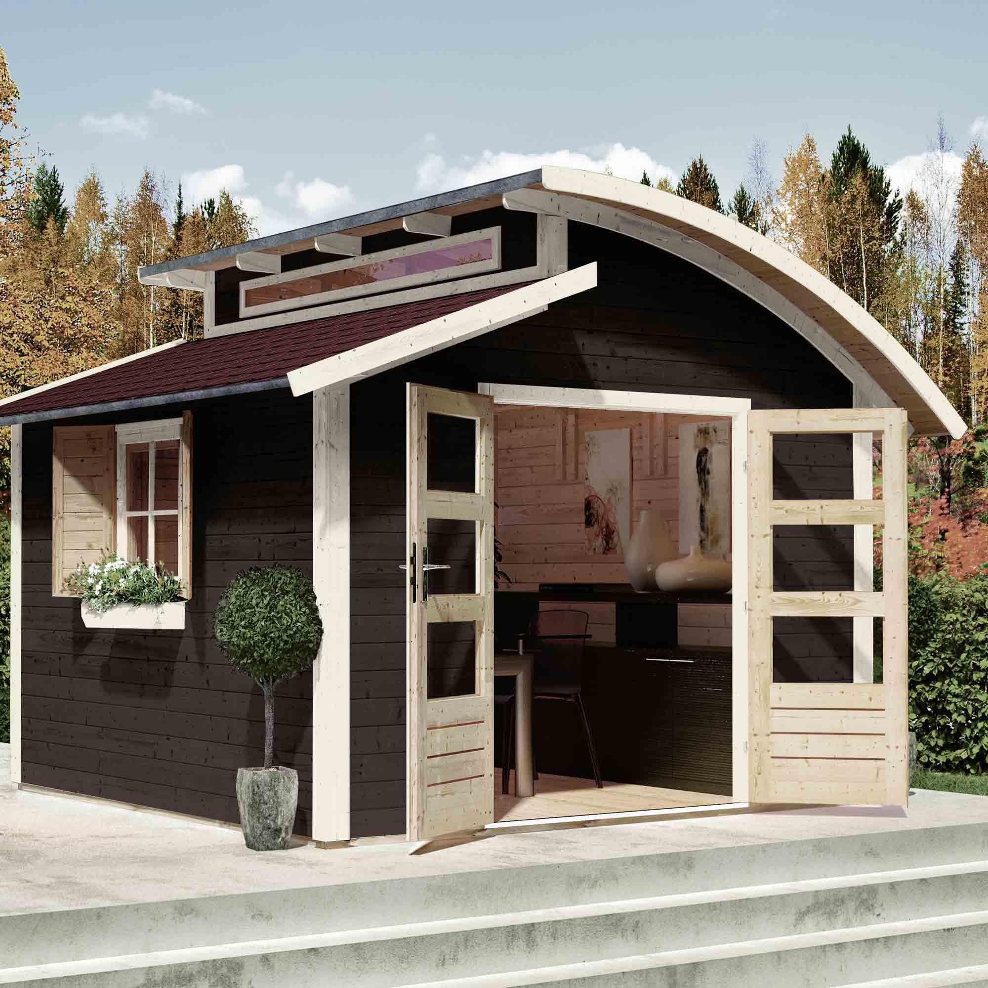 Gartenhäuser aus Holz mit hellen Fenster- und Türrahmen – HolzLand Verbeek