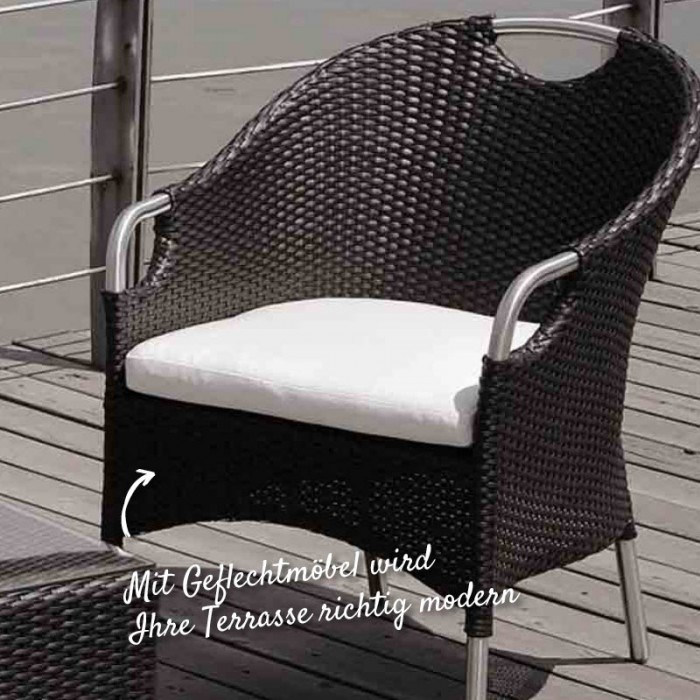 Dekorativer Gartenstuhl aus Geflecht und Alu – HolzLand Verbeek