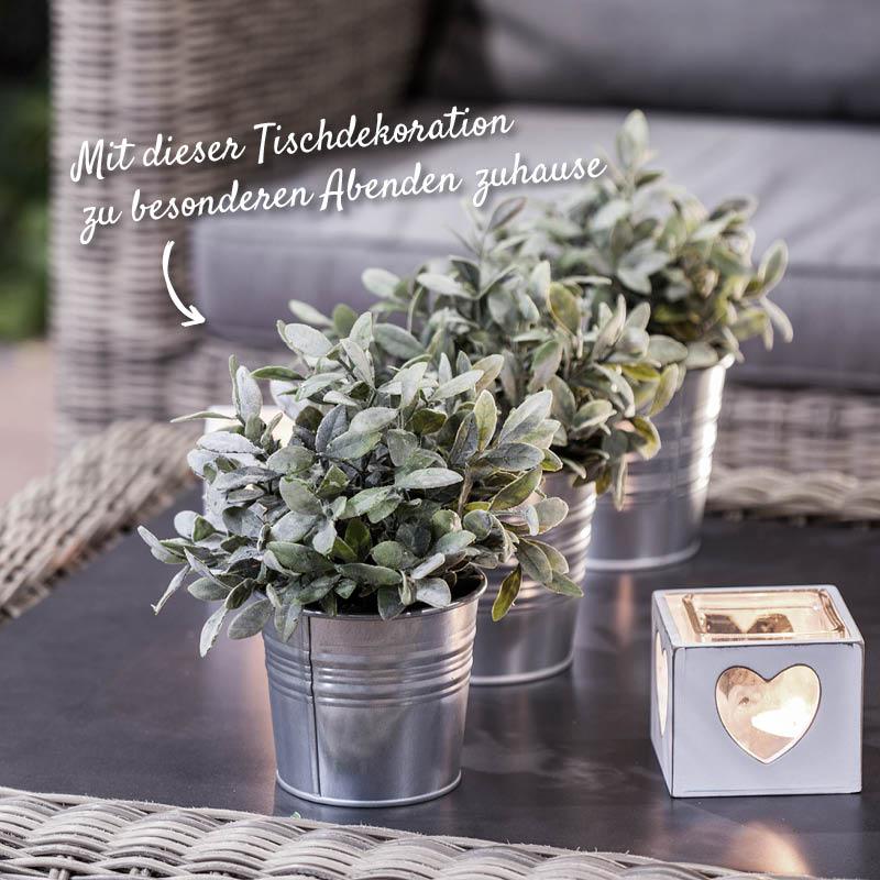 Tischdekoration mit Kerzen und Pflanzen – Holzland Verbeek