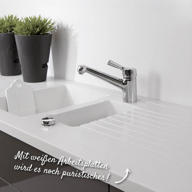 Weiße Küchenarbeitsplatte für den Pure Style – HolzLand Verbeek